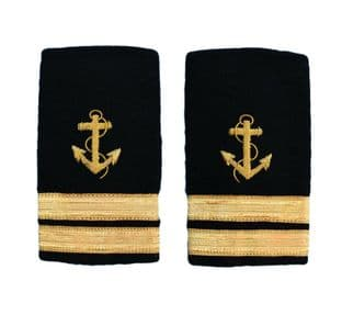Epaulette Shoulder Board Merchant Navy Soft Slip on Anchor 2 bars